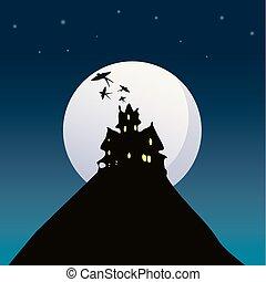 房子, 矢量, 万圣節, illustration., 背景