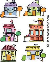房子, 矢量, 集合, 插圖