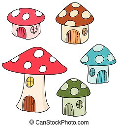 房子, 矢量, 集合, 蘑菇