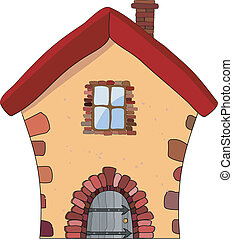 房子, 石頭, 矢量, 插圖