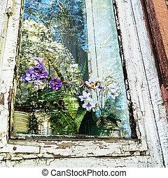 房子, 窗口, 老