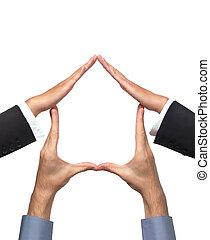 房子, 符號, 做, 手