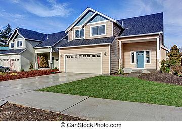 房子, 美國人, grass., 綠色, 原色嗶嘰, exterior.