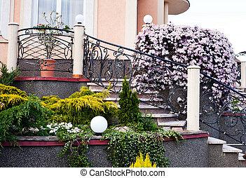 房子, 美麗, 院子