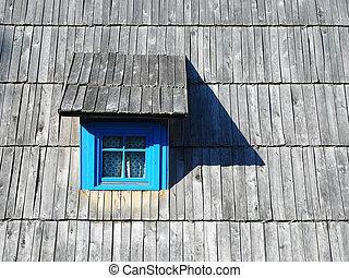 房子, 老, 窗口, 藍色, 樹