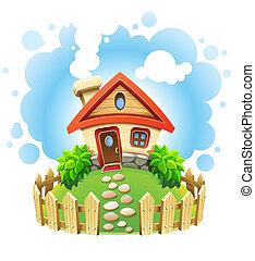 房子, 草坪, 仙女故事, 柵欄