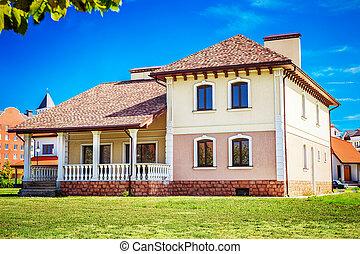 房子, 草坪, 老式的東西