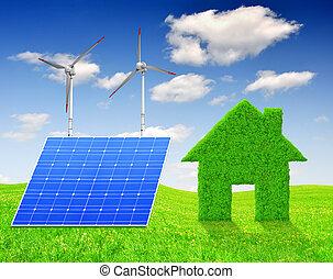 房子, 草, 綠色, 太陽面板