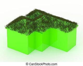 房子, 草, 綠色, 屋頂