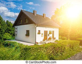 房子, 風景。, 太陽, 小, 夏天