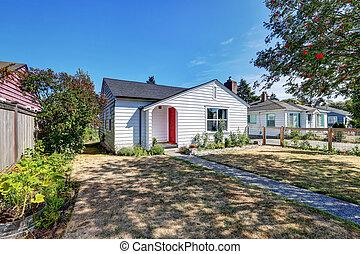 房子, door., 小, 前面, 白色, 漫遊, 紅色