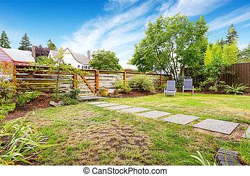 房子, yard., 小, 美國人, 綠色, 外部, 前面
