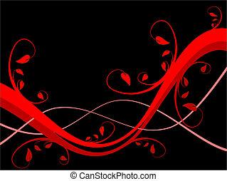 房間, 正文, 摘要, sytylized, 插圖, 設計, 背景, 植物, 黑色, 水平, 紅色