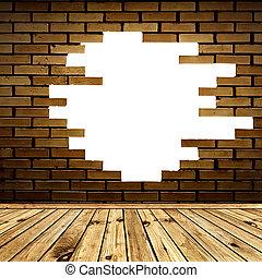 房間, 牆, 磚, 打破