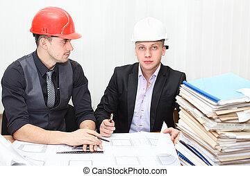 房間, 辦公室, 建設, 建筑師計划, 討論, 工程師