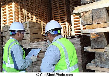 扁平工具, 堆積, 工人, 二, 在旁邊, 談話