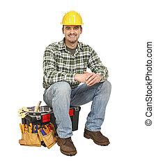 手冊, 工具箱, 工人, 年輕