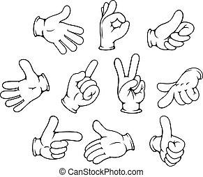 手勢, 集合, 卡通, 手