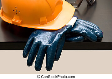 手套, hardhat, 橙, 皮革