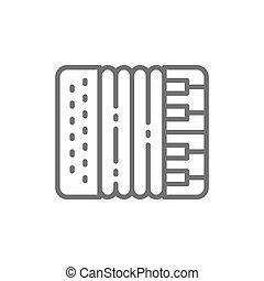手風琴, 口琴, 樂器, 矢量, icon., 線