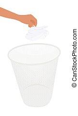 手, 投擲, 紙容器, 浪費