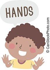 手, 插圖, 孩子, 身体部分, 男孩, 命名