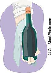 手, 握住, 插圖, 酒