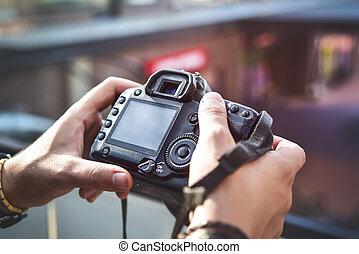 手, 攝影, 照像機, 街道