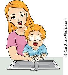 手, 洗滌, 男孩, 學步的小孩, 插圖, 媽媽
