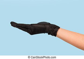 手, 產品, 嘲弄, 背景。, 做廣告, 手套, 你, 插入, 醫學, 對象, 向上, 罐頭, 黑色, 藍色, 你, 握住