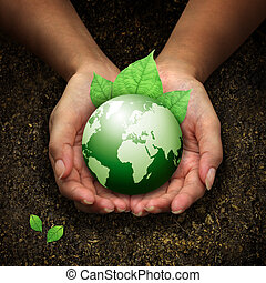 手, 藏品, 地球, 綠色, 人類