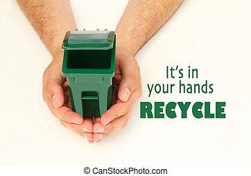 手, 藏品, 垃圾箱, 打開