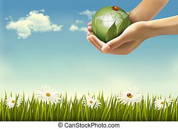 手, 藏品, 背景, 矢量, globe., illustration., 自然