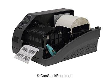 打印机, 在上方, barcode, 被隔离, 標簽, 背景, 白色