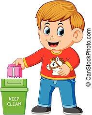 打掃, trush, 環境, 保持, 男孩, 垃圾箱