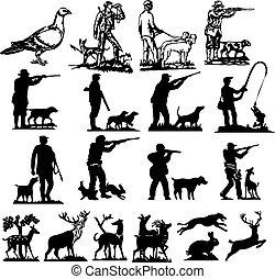 打獵, 黑色半面畫像, 彙整