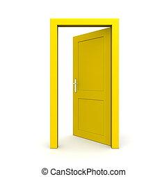 打開, 單個, 門, 黃色