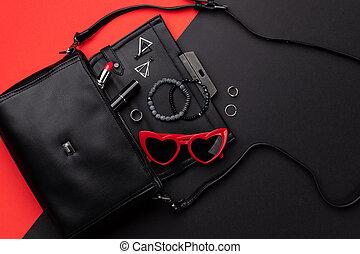 打開, 套間, 袋子, 背景, 附件, 看法, 頂部, 紅色, 雙, 黑色, 位置
