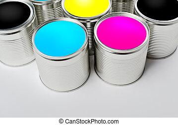 打開, 顏色, 頂部, cmyk, 畫罐, 罐頭, 看法