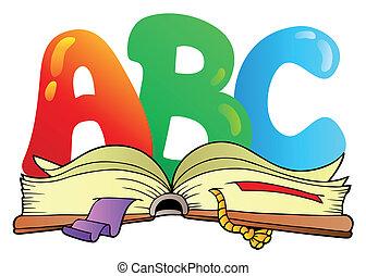 打開, abc, 信件, 書, 卡通