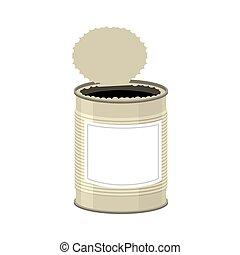 打開, isolated., 錫罐, 背景, 白色, 打開, 銀行