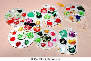 托盤, 水彩 油漆