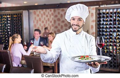 托盤, 站立, 廚師, 餐館, 服務