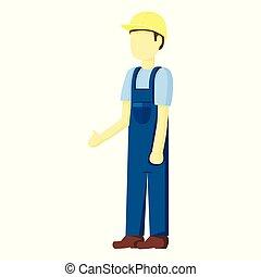 承包商, 建造者, 矢量, 插圖, 人們