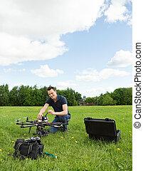 技師, 直升飛机, multirotor, 準備