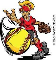 投手, 球, 比賽, 壘球, 快, 藝術, 插圖, fastpitch, 瀝青, 矢量, 卡通, 投擲