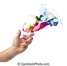 投擲, 畫, 概念, 創造性, 手