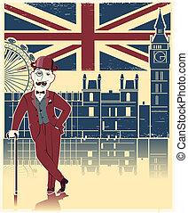 投球手, 倫敦, 結構, 黑色, cane., 老, 背景, 帽子, 英語, 葡萄酒, 紳士