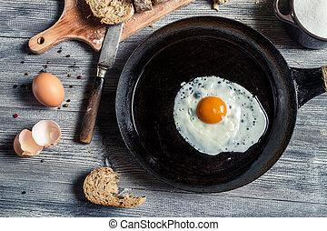 投, 人物面部影像逼真, 鐵, 煎 蛋, 平鍋
