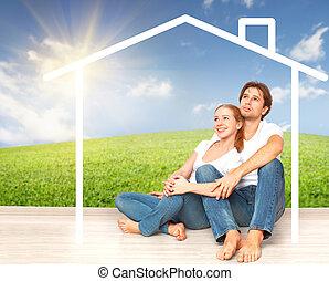 抵押, 夫婦, 作夢, 年輕, concept:, 住房, 家, families.